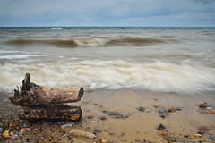 Stormy Weather over the Lake in Color - Lake Erie - Hamburg Beach (DTD_0433) (masinka) Tags: wood lake erie hamburg beach buffalo ny newyork greatlakes windy stormy powerfu water rush waves 716 wny nature sand rocks outdoors landscape photography etbtsy stump
