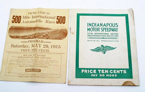 1915 Indianapolis Indy 500 Programs, Lot of Two ($2,912.00): Dated May 29, 1915. Russel Yount attended the race.
