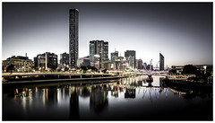 Morning reflections (Jaka Pirš Hanžič) Tags: brisbane queensland qld australia city urban cityscape skyline sky skyscraper buildings architecture dawn morning sunrise day dark bright water river reflection desaturated