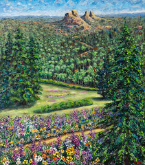 The Pass (art by carol jean) Tags: rabbit ears pass trail flowers rabbitears painting music tree sunset physic stringtheory color wave protons particles faces people