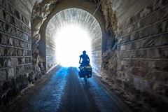 Andrew navigating through one of 35 tunnels in the canon del pato.