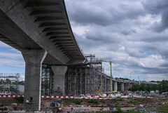 Impressive New Mersey Crossing (joanjbberry) Tags: newmerseycrossing runcorn bridge crane cheshire rivermersey landscape clouds