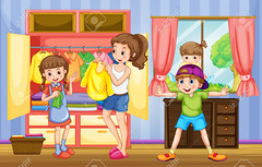 People in family doing chores (claudiafux) Tags: mother children family relatives familymembers room house home chores playing routine activity laundry clothes furniture brother sister housework cabinet toddler illustration graphic picture clipart clip art background drawing image cartoon graphics design style digital vector