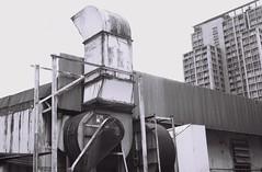 Welcome to the Machine (35mm) (jcbkk1956) Tags: bangkok ekkamai thailand street machine vent building wall industrial contax 167mt analog mono blackwhite film 35mm ilford pan100 carlzeiss 45mmf28 worldtrekker