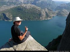 20160608_06 Me on Preikestolen (604 m above the fjord), Norway (ratexla) Tags: ratexla'snorwaytrip2016 preikestolen norway 8jun2016 2016 canonpowershotsx50hs norge scandinavia scandinavian europe beautiful earth tellus photophotospicturepicturesimageimagesfotofotonbildbilder europaeuropean summer travel travelling traveling norden nordiccountries roadtrip wanderlust journey vacation holiday semester resaresor landscape nature scenery scenic ontheroad sommar ratexla me hat deathwish dangerous danger lysefjord lysefjorden pulpitrock favorite