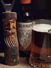 oak aged (163/365) (werewegian) Tags: beer bottle opener carved man wooden belhaven speyside blonde ale werewegian jun17 365the2017edition 3652017 day163 12jun17