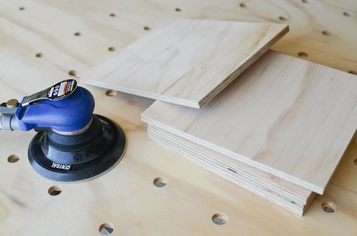 pneumatic sander with plywood scraps
