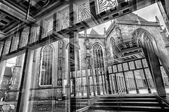 Deventer cityhall reflections (PaulHoo) Tags: deventer holland netherlands city urban architecture building 2017 bw blackandwhite monochrome reflection cityhall window lines pattern nik fuji fujifilm x70