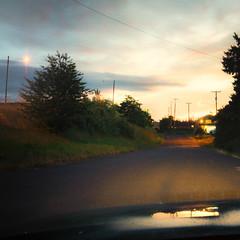 You Were There (rosenunezsmith) Tags: neighborhood windshield eugene builtlandscape oregon sunset houses goldenhour lanecounty america sky regionaldistinctions pacificnorthwest suburbanlandscape streets streetlights pnw upperleftusa magichour