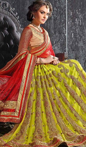 Lime Green Color Shaded Jacquard Embroidered Choli