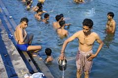 Varanasi, bathing and swimming in the Ganges (6) (walterkolkma) Tags: varanasi india ganges ganga swimming bathing streetphotography hinduism nikond5500