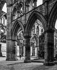 Feeling small? (Anthony P26) Tags: architecture category decay england internal northyorkshire places rievaulxabbey travel yorkshire uk unitedkingdom english british britain greatbritain mono monochrome blackandwhite canon canon550d canon1585mm grass lawn columns arches architecturephotography gothicarchitecture ruin derelict ruins abbey monastery placeofworship shadows scale imposing dissolution