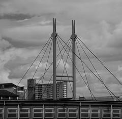 Urban walk 20 May 2017: Lewisham to Mile End 45 (neil mp) Tags: towerhamlets london crossrailplace canarywharf poplar poplardlrstation footbridge cablestayed balfrontower ernőgoldfinger modernism brutalism skyline blackandwhite bnw monochrome sky contrast abk ahrendsburtonandkoralek bridge aspenway e14