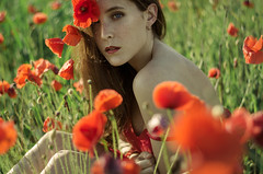 Red passion (Litvac Leonid) Tags: poppy flowers portrait italy outdoor summer nikon model mood moody freckles daylight natural light freckled ll photography litvac leonid