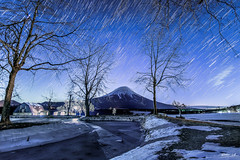 Star Tail w FUJIsan in -15 c temperature love that moment (Sutiwat Vej) Tags: fuji cold freeze snow star japan fujisan mo mountain blue river winter fujifilm landscape shoot night nightscape