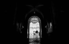 Hand in hand... (elgunto) Tags: montserrat people church monument light contrast shadows door kid mother hands scene silhouettes monochrome blackwhite bw sonya7 nikon2035 manuallense ai