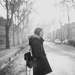 _DSC3345_bw (Esther'90) Tags: portrait portraitphotography portraitwoman portraiture portraitmood portraits woman womanportrait street winter trees buildings houses backlight backlighting blackandwhite blackandwhiteportrait bokeh bokehbackground