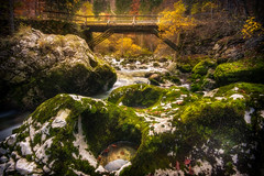 Savica in autumn (Aljaž Vidmar | ADesign Studio) Tags: autumn landscape bridge nature rocks leaves slovenia effect river wideangle edit colors longexposure savica orton gorenjska glow
