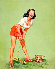 Croquet Player by Edward D'Ancona (Tom Simpson) Tags: croquetplayer edwarddancona pinup pinupart girl woman boobs croquet dog puppy art painting illustration vintage