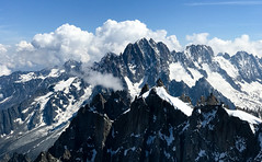 View from Aiguille du Midi of Mont Blanc massif mountain ridge