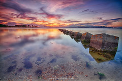Dragons Teeth Sunset Reflections (mpelleymounter) Tags: dragonsteeth dorsetlandscapes dorsetseascape reflections sunset clouds mirror concrete poolebay bramblebushbay pooleharbour visitdorset markpelleymounter wwwphotomarkscouk leefilter leegraduatedfilters goldenhour canon7d