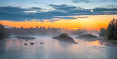 Morning fog before sunrise (M.T.L Photography) Tags: landscape panorama sunrise water riverkiiminkijoki clouds trees morning smooth night finland dramatic nikond810 mtlphotography mikkoleinonen fog mist summer early