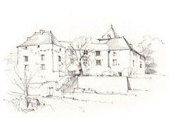 Marsa, Beauregard, Lot, France (Linda Vanysacker - Van den Mooter) Tags: visiblytalented vanysacker vandenmooter tekening sketch schets potlood pencil lindavanysackervandenmooter lindavandenmooter drawing dessin croquis crayon art château castle kasteel frankrijk france marsa beauregard lot