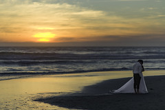 Secrets on The Beach (dkentner) Tags: d800 wedding sunset ocean clouds waves dress bride groom sand oregon