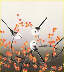 Japanese bittersweet and long-tailed tit (Japanese Flower and Bird Art) Tags: flower bittersweet celastrus orbiculatus celastraceae bird longtailed tit aegithalos caudatus aegithalidae toshio nishiuchi nihonga shikishi japan japanese art readercollection
