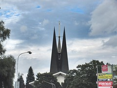 Tower, modern St. Wenceslas Church, Břeclav, Czechia (Paul McClure DC) Tags: břeclav czechia czechrepublic moravia morava aug2016 architecture historic church modern jihomoravskýkraj