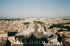piazza san pietro (Kathleen Vtr) Tags: piazza sanpietro vatican bernini arthistory art renaissance beautiful monument cityscape city trip travel explore discover goldenlight spring sunshine roofs rooftops panoramic view panorama 35mm analog film photography canonae1 holiday
