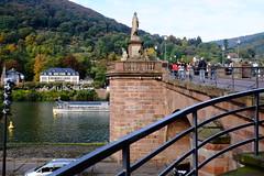 Old Bridge over Neckar (DSLEWIS) Tags: neckar river neckarriver heidelberg bridge brucke gate fortifications germany deutschland roadscholar tour