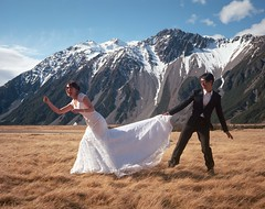Voon & Hoe (denise yeap) Tags: mountcook nz prewed prewedding mamiya7 120 analog film landscape ektar kodak