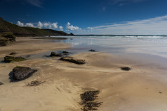 On the beach (Esox2402) Tags: beach sand sea surf rocks seaweed clouds sky blue canon6d 1740mm landscape coast water shore newgale