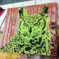Owl • Latex, spray e verniz sobre madeira. 28x25 cm (MAISxCOR) Tags: stencil art estencil maiscor owl coruja