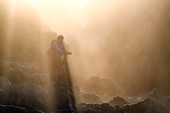 Man in Shade (Gift of Light) Tags: bermagui newsouthwales australia landscape man human photographer rock shore mountain ground land day morning sunlight sunrays fog mist shadow shade sony sonyalpha alpha sonya7rii sonya7rmkii a7rii a7rmkii sonyfe70300mmf4556goss fe 70300mm f4556 703004556 455670300 g oss