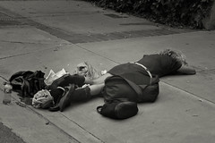 "Pitiful sight on the ""side of the road"" - Flickr Fridays (Karon Elliott Edleson) Tags: flickr flickrfridays monotone blackandwhite homeless sandiego poor streets"