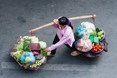 Woman from above @ Hanoi (Vietnam) (PaulHoo) Tags: candid streetcandid streetphotography travel tourism vietnam nikon d700 asia people carrier movement vegetables woman 2016 above view citylife urban hanoi