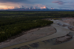 Mt. Drum and Mt. Sanford Over the Copper River (Adam Woodworth) Tags: alaska alpenglow copperriver mountains mtdrum mtsanford river sunset volcano wrangellsteliasnationalpark