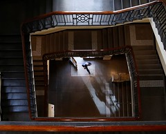 The Entrance (Keith Midson) Tags: melbourne stair stairs staircase stairwell man walking door entrance steps light shadows shadow doorway