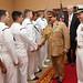 Hamad bin Isa Al Khalifa, the King of the Kingdom of Bahrain, shakes hands with Sailors.