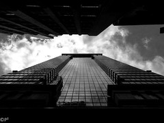 In the Canyons of Downtown... (THE.ARCH) Tags: nyc newyorkcity newyorkny newyork ny downtown wallstreet wallst skyscraper kevinrochefaia johndinkeloofaia kevinrochejohndinkelooassociates kohnpedersonfoxassociates blackandwhite bw glass towers tower