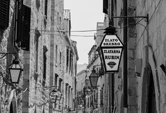 Rubin Sign (Jon and Sian Bishop) Tags: black white blackandwhite jon bishop tourmac photography outdoor nopeople grey sign lantern canon eos 6d june 2017 summer croatia dubrovnik europe street buildings building tall narrow monochrome thirds ruleofthirds eye catching