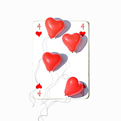 four of hearts (brescia, italy) (bloodybee) Tags: 365project playingcards play cards game stilllife square 4 four heart balloon strings shadow humor fun white red