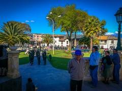 Students gather to raise the flag every Sunday in Cajabamba, Peru.