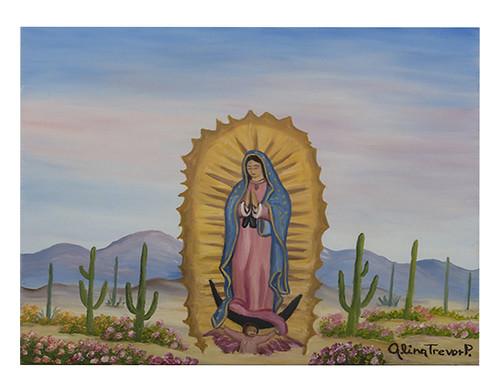 Autor: NILDA ALINA TREVOR PINO, Virgen de Guadalupe en el desierto de Sonora  40x50 cm