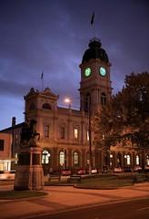 Ballarat Town Hall 1868 (bobarcpics) Tags: ballarat townhall heritageweek statue dusk classicrevival