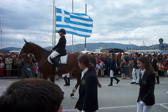 Volos parade (Shawn Blanchard) Tags: greece volos parade greek flag color blue white sky horse people clouds landscape mountain water sea boats port