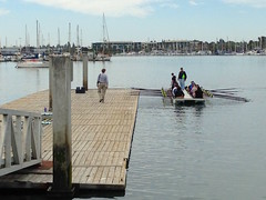 Heading Out in the Barge (melystu) Tags: sport rowing ebrc eastbay dock walk oars barge learn masts marina oakland water coast learntorowday nltrd