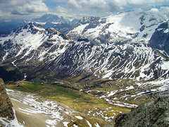 Marmolada (mesocyclone70) Tags: italy mountain mountains view valley pordoi dolomites snow ice road roads hairpin hairpins rock rocks sky